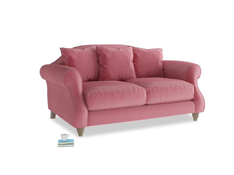 Small Sloucher Sofa in Blushed pink vintage velvet