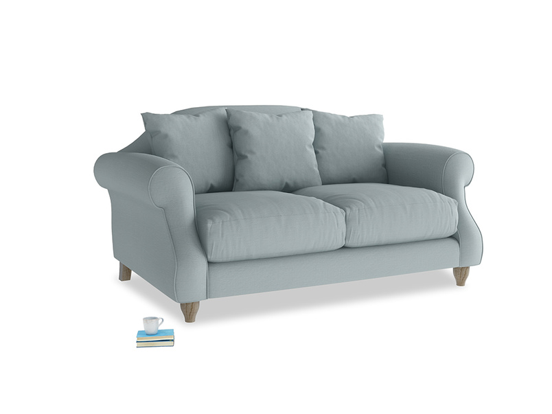 Small Sloucher Sofa in Quail's egg clever linen