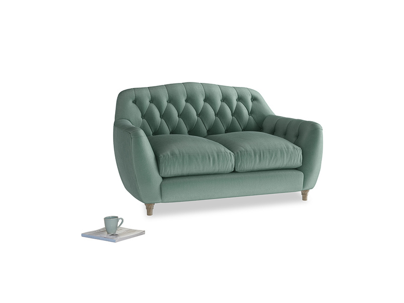 Small Butterbump Sofa in Sea blue vintage velvet