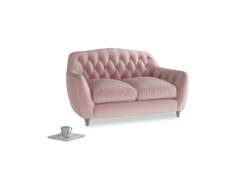 Small Butterbump Sofa in Chalky Pink vintage velvet