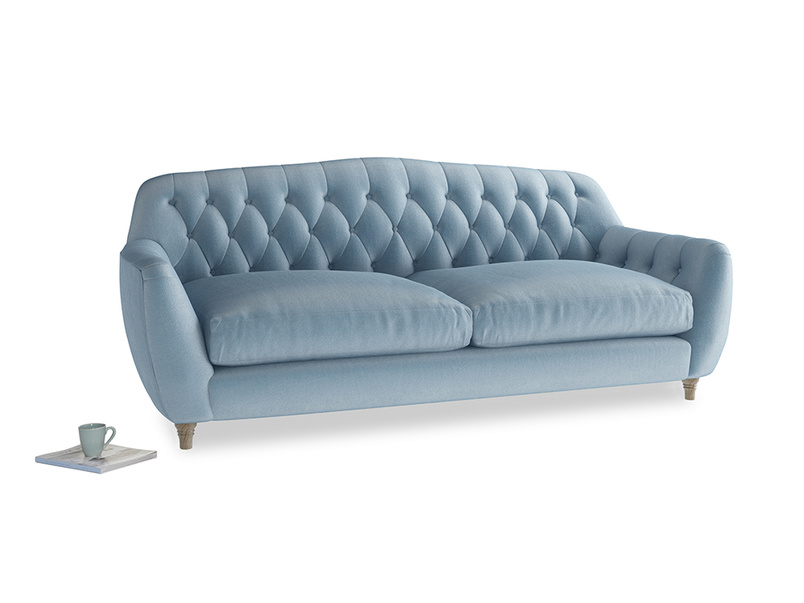 Large Butterbump Sofa in Chalky blue vintage velvet