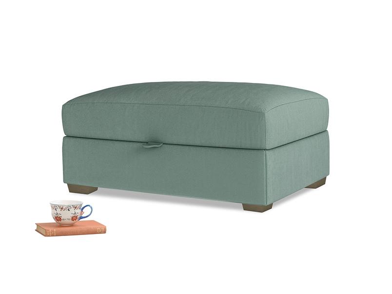 Bumper Storage Footstool in Sea blue vintage velvet