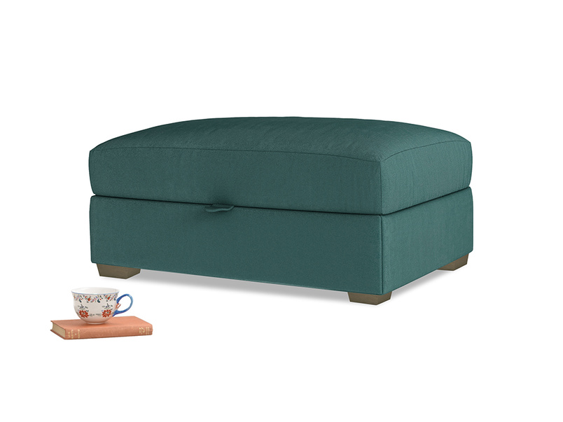 Bumper Storage Footstool in Timeless teal vintage velvet