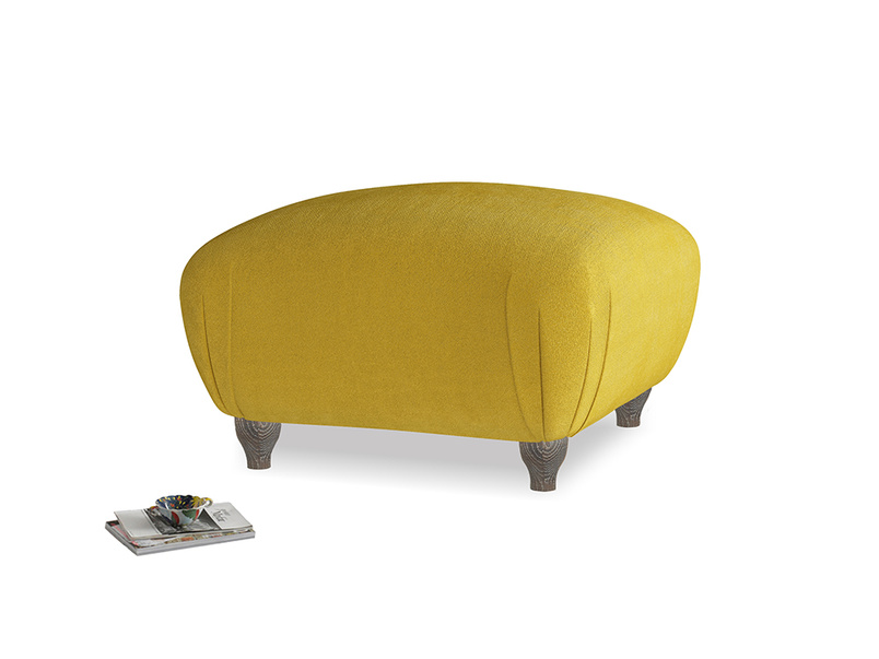 Small Square Homebody Footstool in Burnt yellow vintage velvet