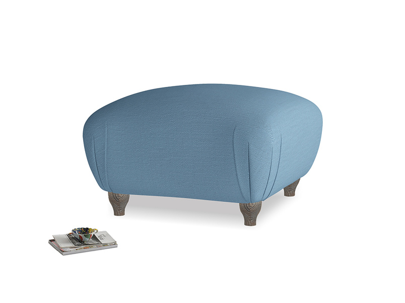 Small Square Homebody Footstool in Easy blue clever linen