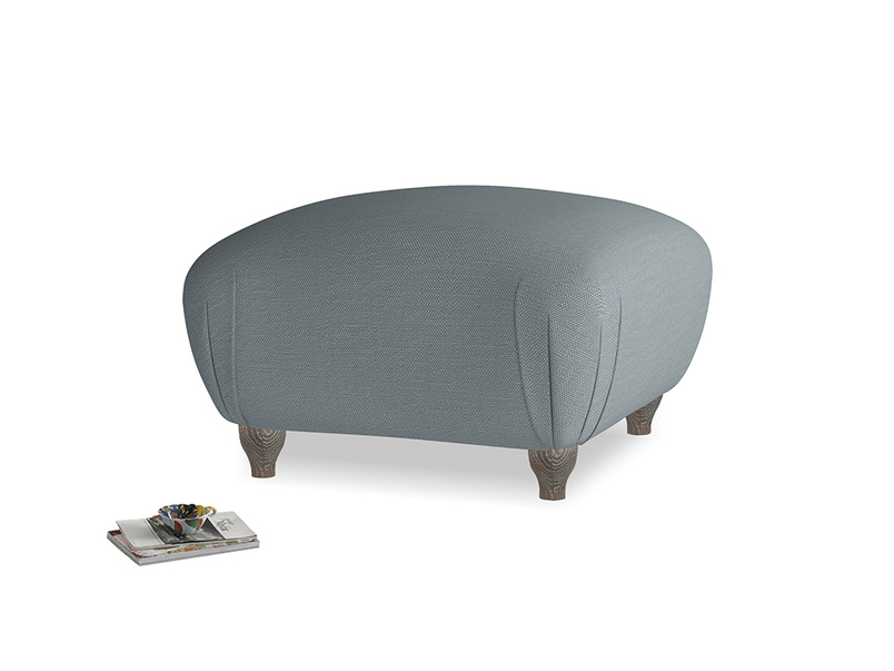Small square footstool Homebody Footstool in Meteor grey clever linen