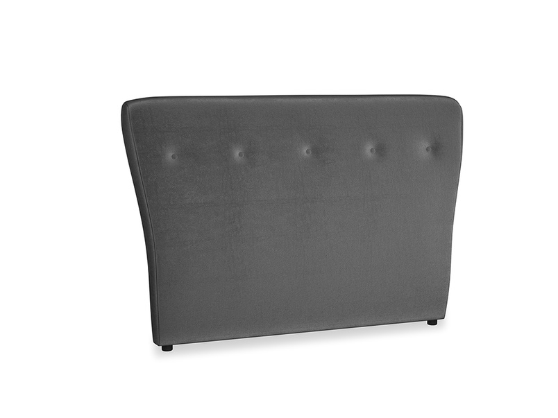 Double Smoke Headboard in Scuttle grey vintage velvet