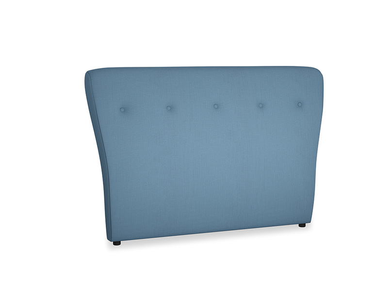 Double Smoke Headboard in Easy blue clever linen