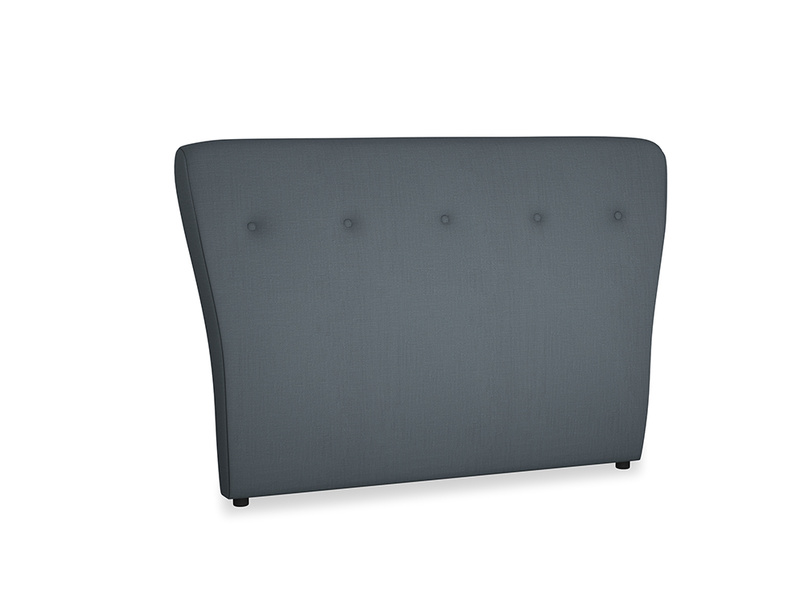 Double Smoke Headboard in Lava grey clever linen