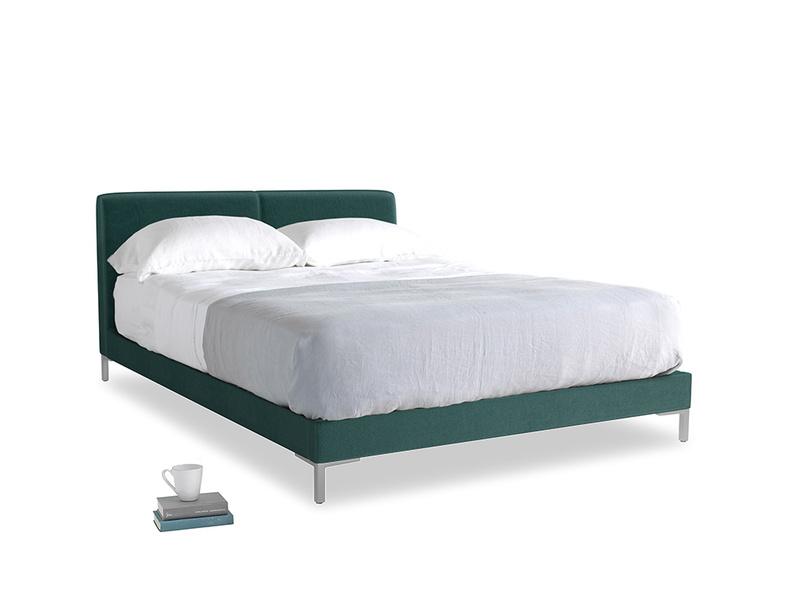 Kingsize Chrome Bed in Timeless teal vintage velvet