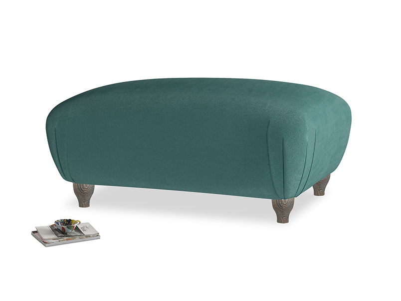 Rectangle Homebody Footstool in Timeless teal vintage velvet