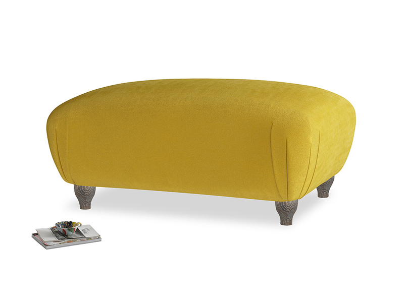 Rectangle Homebody Footstool in Burnt yellow vintage velvet