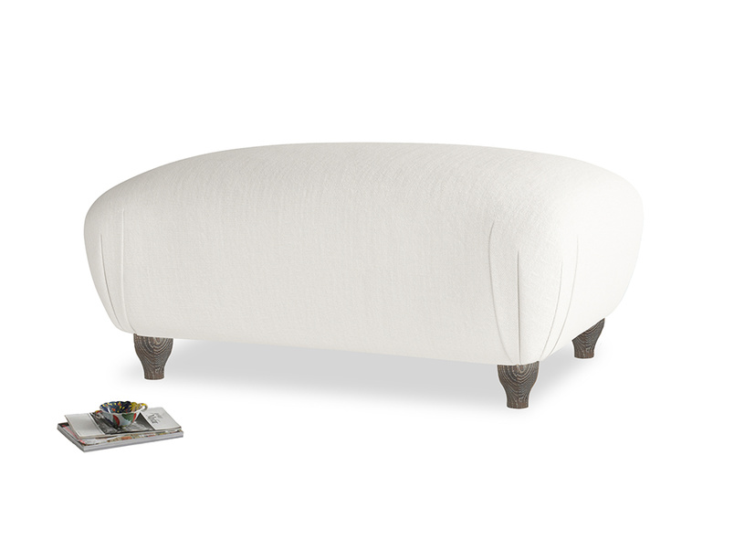 Rectangle Homebody Footstool in Oyster white clever linen