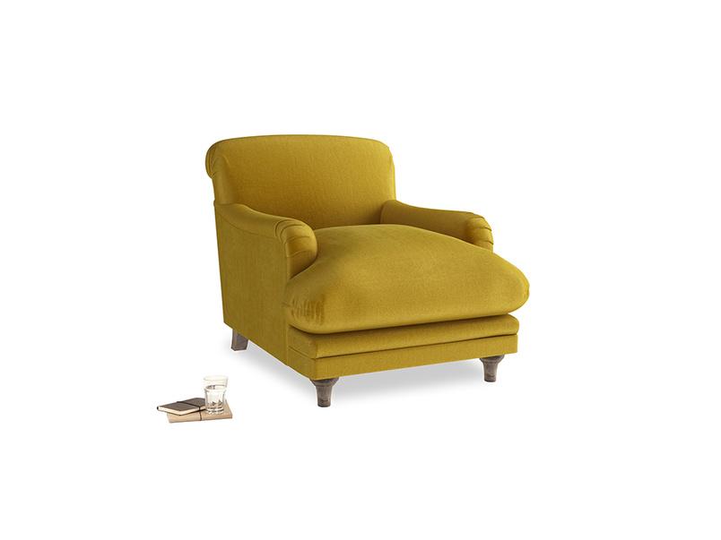 Pudding Armchair in Burnt yellow vintage velvet