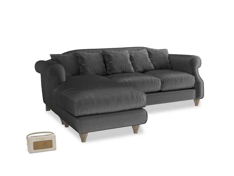 Large left hand Sloucher Chaise Sofa in Scuttle grey vintage velvet