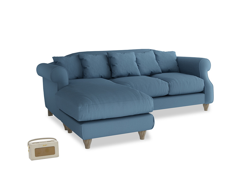 Large left hand Sloucher Chaise Sofa in Easy blue clever linen