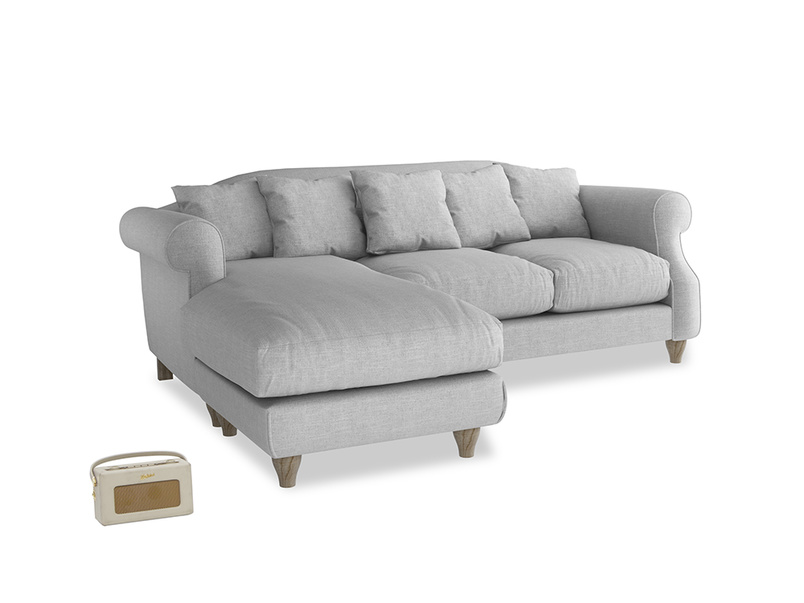 Large left hand Sloucher Chaise Sofa in Cobble house fabric