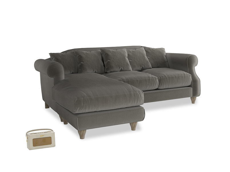 Large left hand Sloucher Chaise Sofa in Slate clever velvet