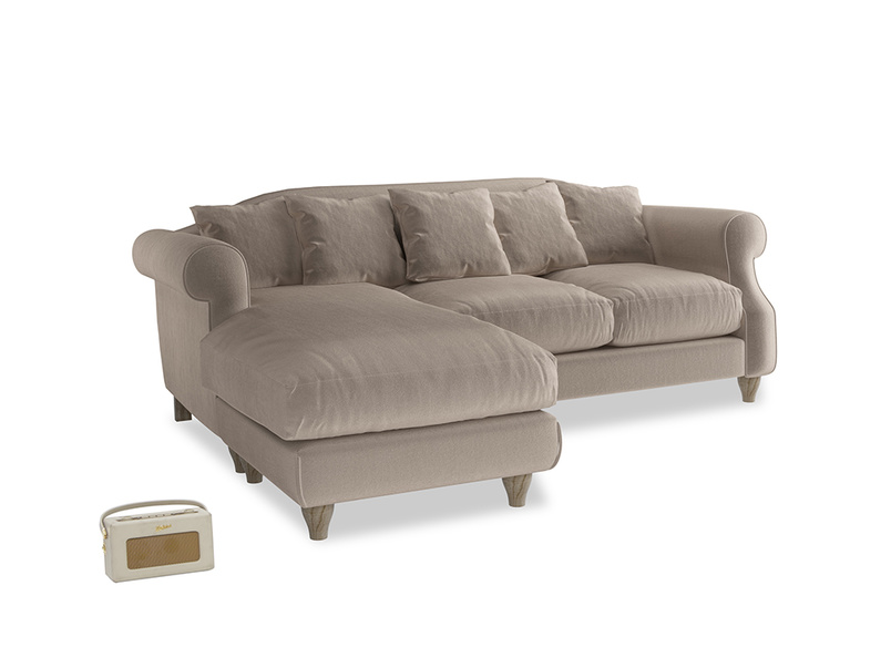 Large left hand Sloucher Chaise Sofa in Fawn clever velvet