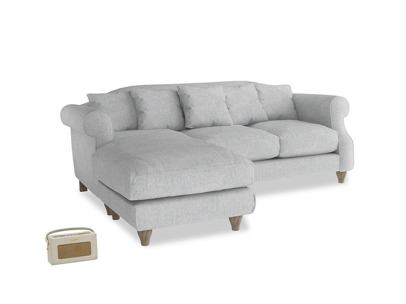 Large left hand Sloucher Chaise Sofa in Pebble vintage linen