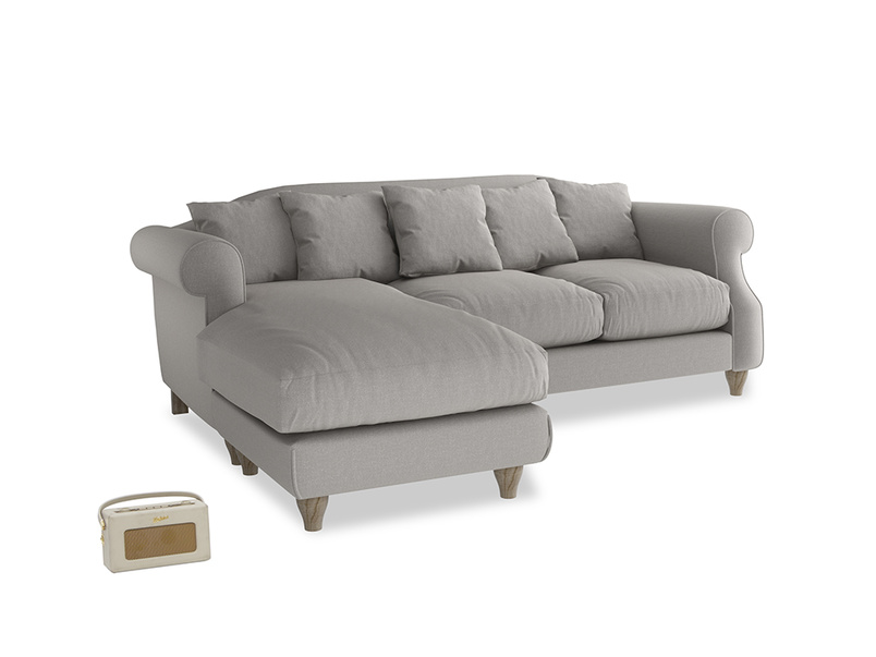 Large left hand Sloucher Chaise Sofa in Wolf brushed cotton
