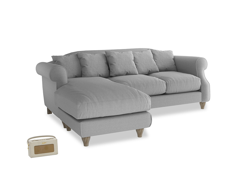 Large left hand Sloucher Chaise Sofa in Magnesium washed cotton linen