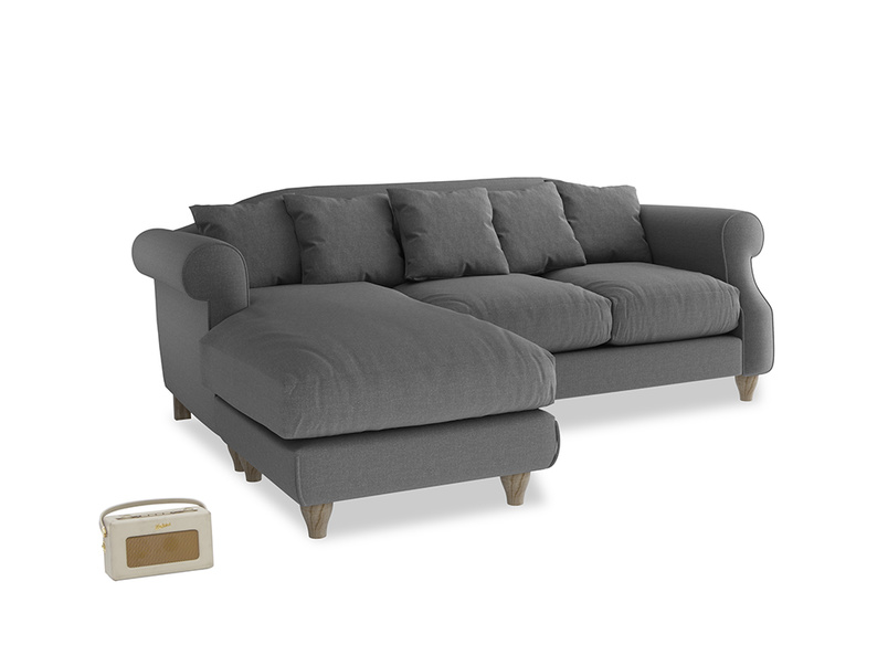 Large left hand Sloucher Chaise Sofa in Ash washed cotton linen
