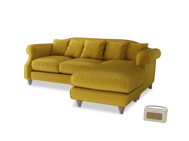 Large right hand Sloucher Chaise Sofa in Burnt yellow vintage velvet