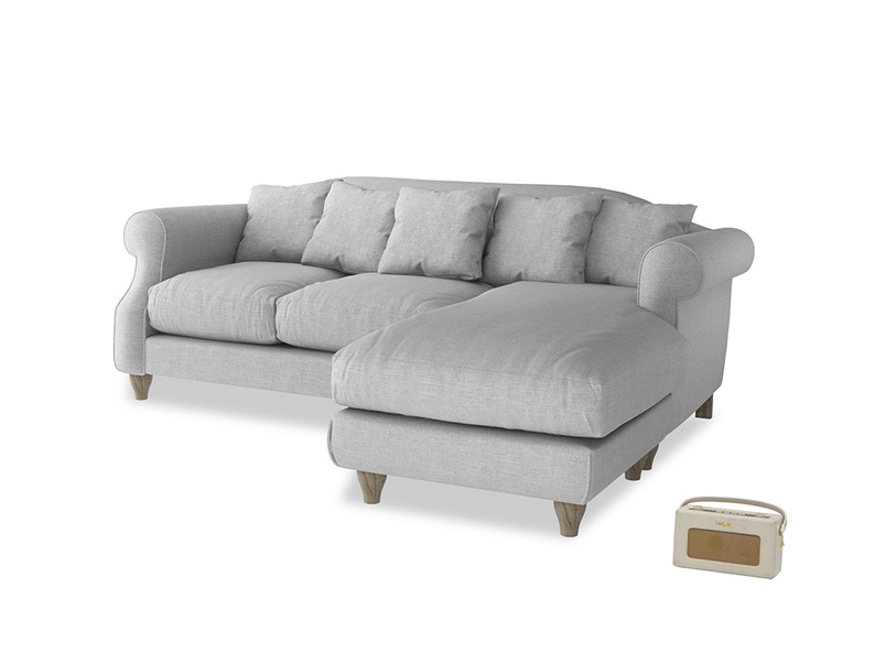 Large right hand Sloucher Chaise Sofa in Cobble house fabric