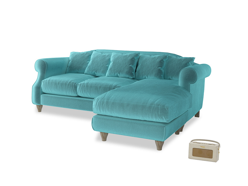 Large right hand Sloucher Chaise Sofa in Belize clever velvet