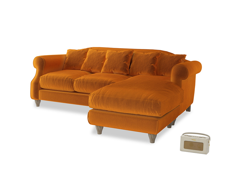 Large right hand Sloucher Chaise Sofa in Spiced Orange clever velvet