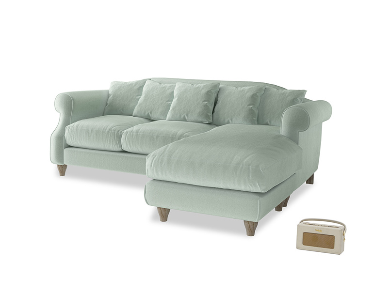 Large right hand Sloucher Chaise Sofa in Mint clever velvet