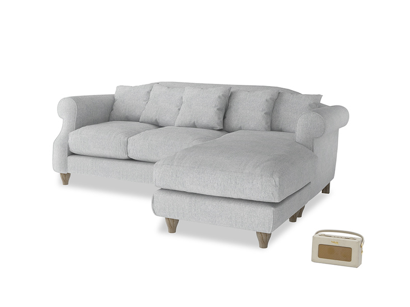 Large right hand Sloucher Chaise Sofa in Pebble vintage linen
