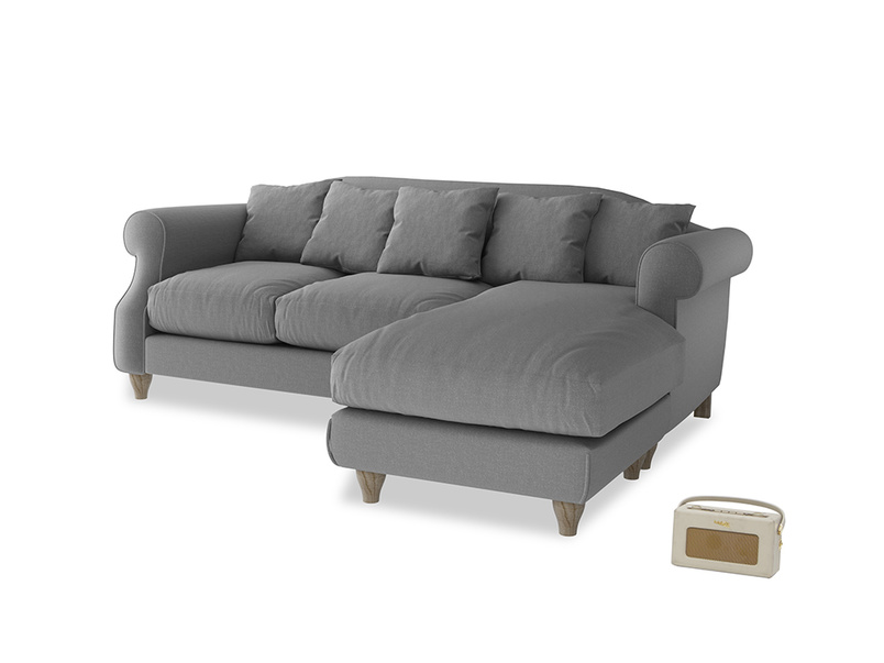 Large right hand Sloucher Chaise Sofa in Gun Metal brushed cotton