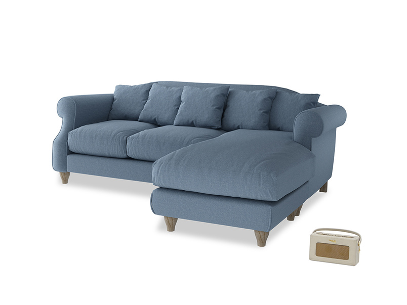 Large right hand Sloucher Chaise Sofa in Nordic blue brushed cotton