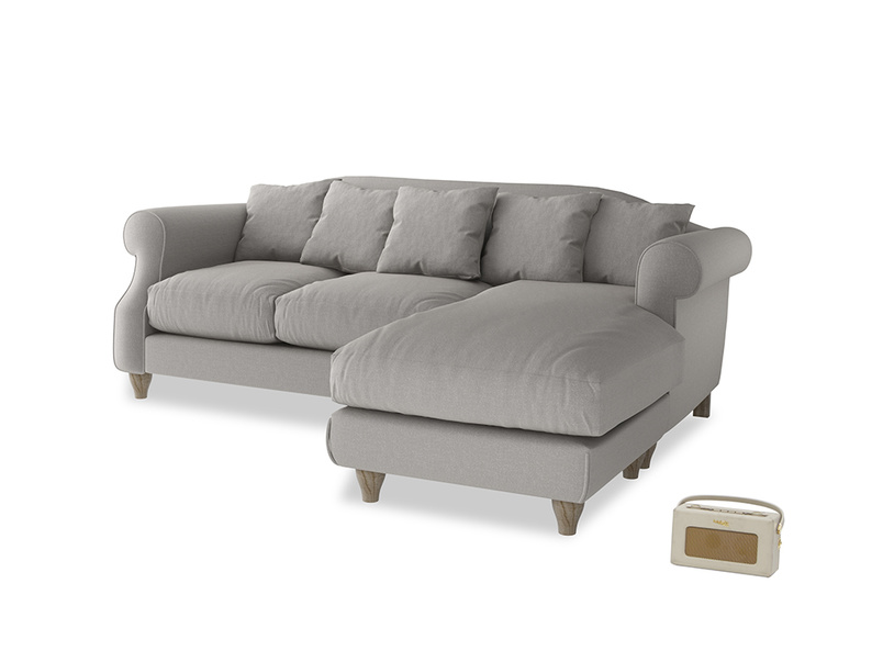 Large right hand Sloucher Chaise Sofa in Wolf brushed cotton