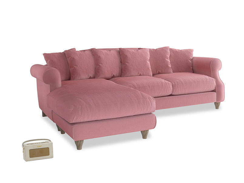 XL Left Hand  Sloucher Chaise Sofa in Dusty Rose clever velvet