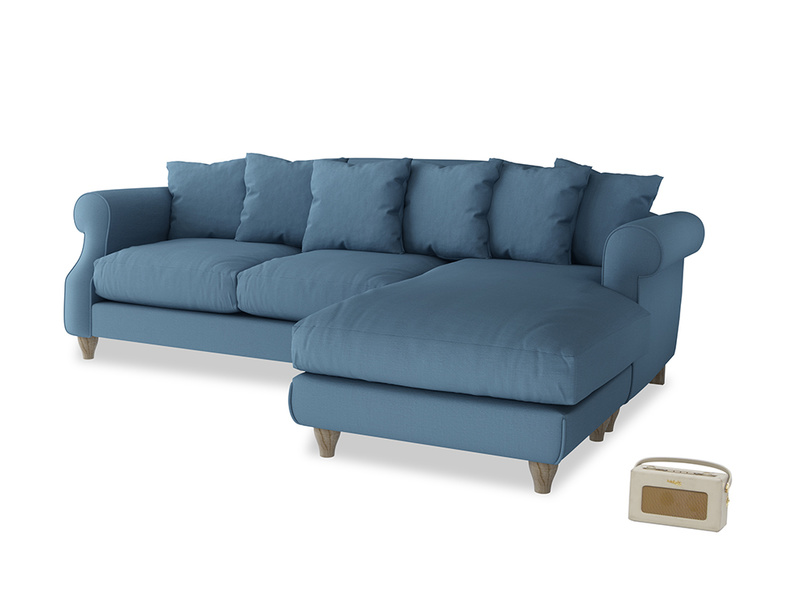 XL Right Hand  Sloucher Chaise Sofa in Easy blue clever linen