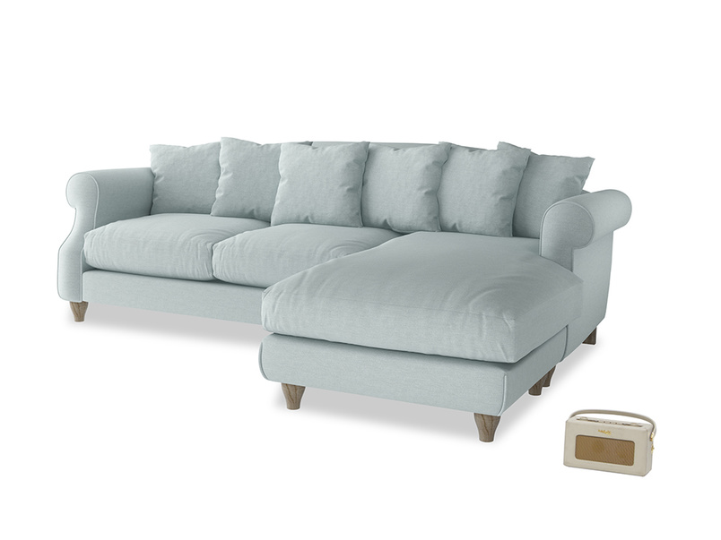 XL Right Hand  Sloucher Chaise Sofa in Duck Egg vintage linen