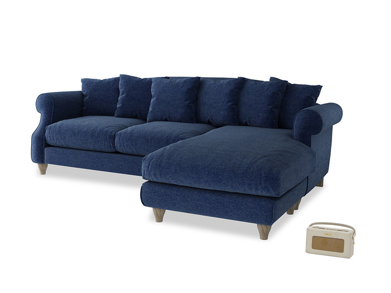 XL Right Hand  Sloucher Chaise Sofa in Ink Blue wool