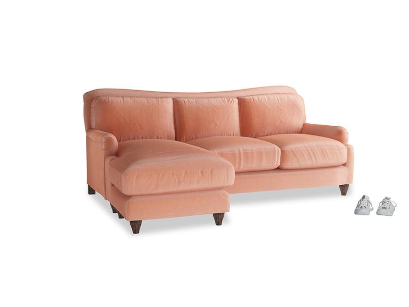 Large left hand Pavlova Chaise Sofa in Old rose vintage velvet