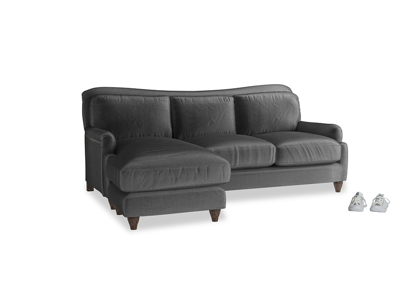 Large left hand Pavlova Chaise Sofa in Scuttle grey vintage velvet