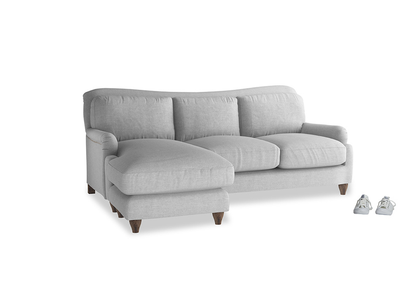 Large left hand Pavlova Chaise Sofa in Cobble house fabric