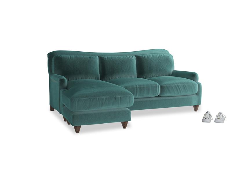Large left hand Pavlova Chaise Sofa in Real Teal clever velvet