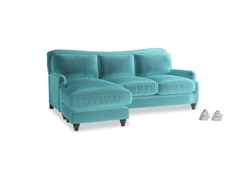 Large left hand Pavlova Chaise Sofa in Belize clever velvet