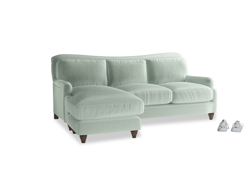 Large left hand Pavlova Chaise Sofa in Mint clever velvet