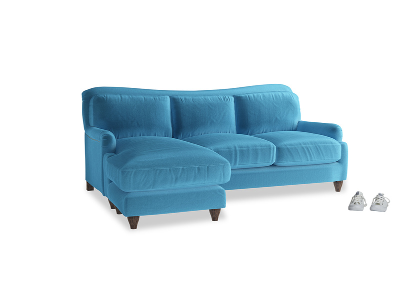 Large left hand Pavlova Chaise Sofa in Teal Blue plush velvet