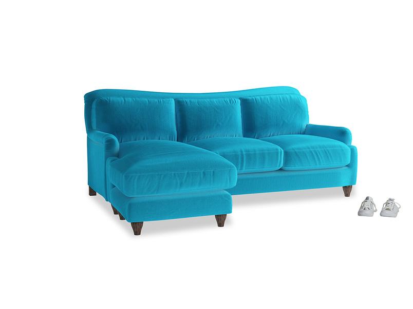 Large left hand Pavlova Chaise Sofa in Azure plush velvet