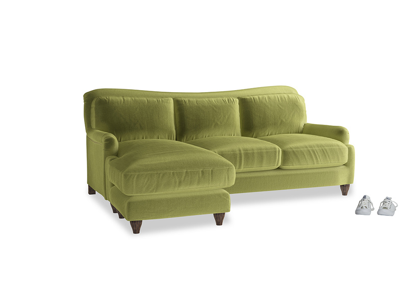 Large left hand Pavlova Chaise Sofa in Olive plush velvet