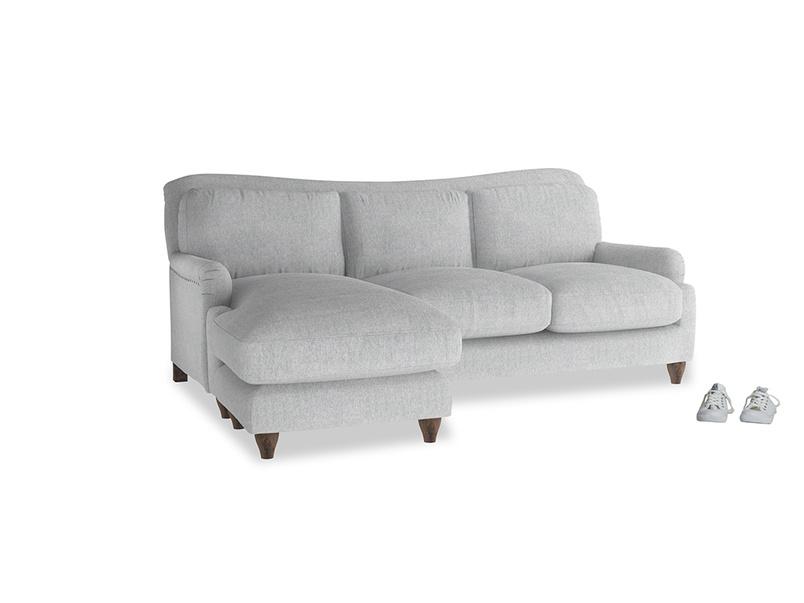 Large left hand Pavlova Chaise Sofa in Pebble vintage linen